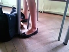 Candid Stunning Shoeplay by Teen in Nylons pt 1 Thumb