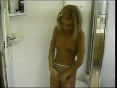 itsy blondie teen examines her assets  in shower Thumb