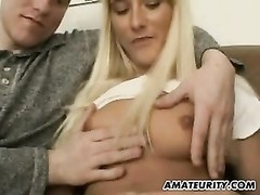 amateur girlfriend deep-throats and fucks with double facial Thumb