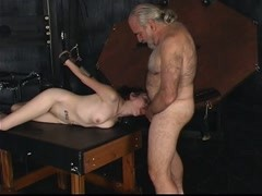 Master Len restrains a gorgeous young brunette cock sucker and fucks her Thumb