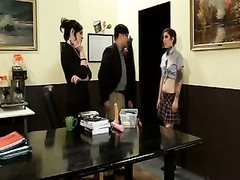 Tatted student poked  by male and woman teacher Thumb