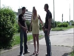 huge titties chick PUBLIC ORGY in the middle of a STREET share one Thumb