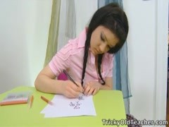 Tricky Old Teacher - Vika is in the school room Thumb