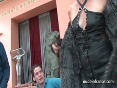 French mature banged and jizz in 3way by a old and young men Thumb