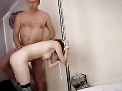 nice Redhead torn up by ancient guy against pole with hands tied Thumb