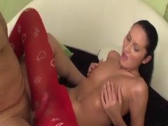 Cute girl in red pantyhose fucked hard Thumb