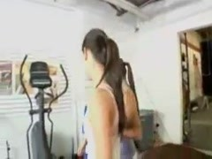 Two hot and slender girls go lesbian in gym Thumb