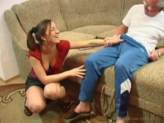 Grandpa and a young lady have a hot fuck Thumb