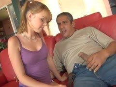 Yummy redhead loves that big old man cock Thumb