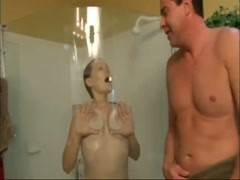 Girl in shower teases him as he jerks off Thumb