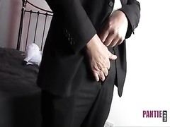 brilliant stud in suit jerks his large jizz-shotgun in frilly nylon lingerie Thumb