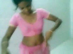 cute Indian Desi woman in Pink Saree deepthroating and poking Thumb