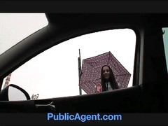 PublicAgent Natalie has huge jugs and is banged on the backseat Thumb
