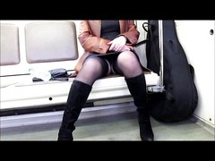 Public flashing stockings in a metro lisp Thumb