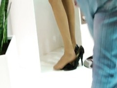 impersonal handsome blondy Hostess Shoeplay Feet gams  Nylons Thumb