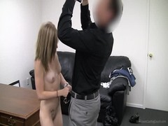 Young casting girl is sucking interviewer's dick on camera Thumb