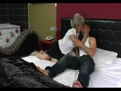 Silver hair cougar with young friend Thumb