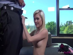 Completely innocent blonde is sucking a dick in the video by Casting Couch X Thumb