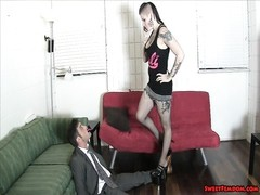 Goth dame and friend pause her boss BALLBUSTING LESBIANS Thumb