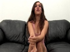 Impressive brunette is getting licked and fucked at the casting Thumb
