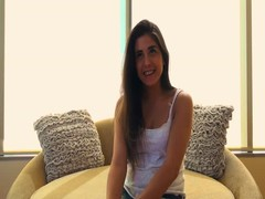 Long-haired beauty is demonstrating her boobies at Casting Couch X Thumb