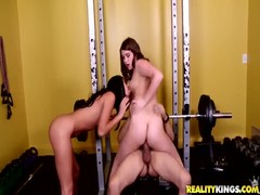 Great cock-riding workout with cash-loving milf and her sister Thumb
