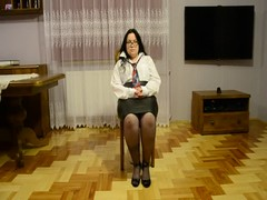 Chubby Wife as secretary dancing and strip Thumb