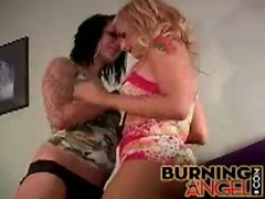 Joy time with two lovely emo girls in lesbian sex movie Thumb