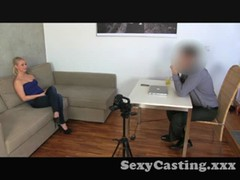 Casting Blonde amateur unhappy with creampie Thumb