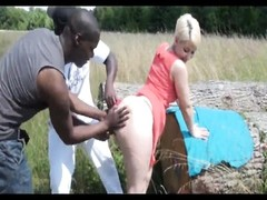 nice pixie blondy with large arse plumbed by two blacks Thumb