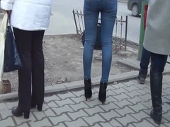 Jeans and leather jaket girls Thumb