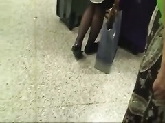 candid dusky Nylon Shoeplay Feet at Airport Thumb