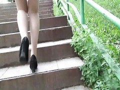 Flashing stockings tops on a stair Thumb