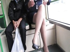 chick in fishnet stockings in a bus Thumb