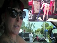 Exhibitionist wife Morgan La regret Upskirt Stranger At Carwash Thumb