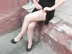 dame in stockings without panties Thumb