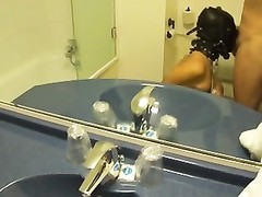 tied and hooded wife gets facefuck and facial in the toilet Thumb