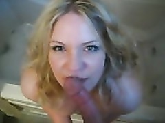 nice yellow-haired cherry wifey  -  blow and facial in the bathtub Thumb