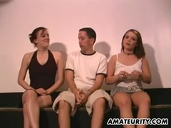 Amateur homemade threesome with busty girlfriends Thumb