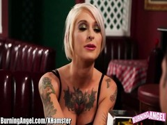 BurningAngel Punk female sucks stiffy In Restaurant Bathroom Thumb