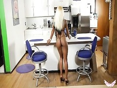 stunning ebony honey  fingers her taut  labia in the kitchen! Thumb