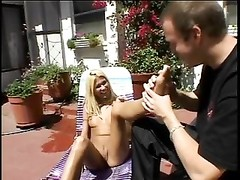 lovely tattooed tart  Cindy Crawford has her toes deep-throated while her pussy's ravaged Thumb