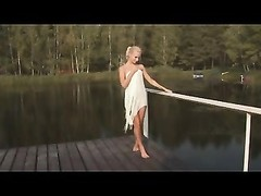 Nude Beach - torrid  Blond jerking on Pier Thumb