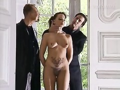 Pierced and tattooed slave bitch penetrated tough in all slots Thumb