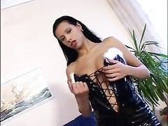 huge-boobed  brunette in pvc basque anally smashed Thumb