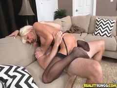 Astonishing blonde with big boobies jumping on the dick Thumb
