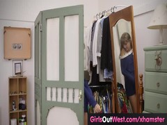 Girls Out West - Small titted teen masturbates on the bed Thumb
