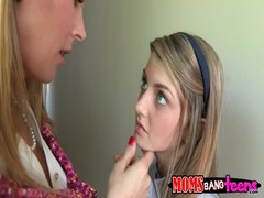 Teenager with eyes full of innocence being seduced by lusty milf Thumb