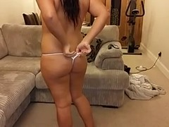 Posh English strips with perfect pussy facesitting POV Thumb
