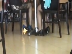 impersonal Asians hot Shoeplay Feet in Stockings at Airport Thumb